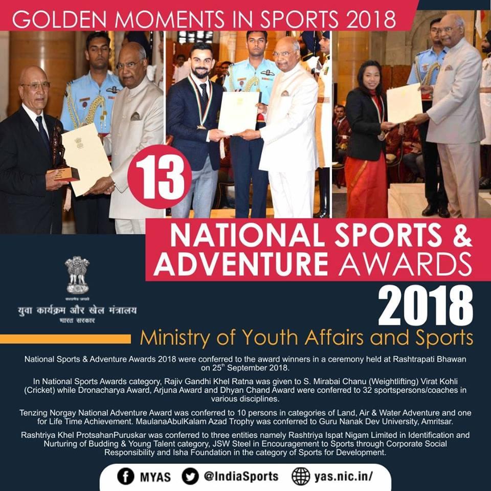 National sports awards and adventure award